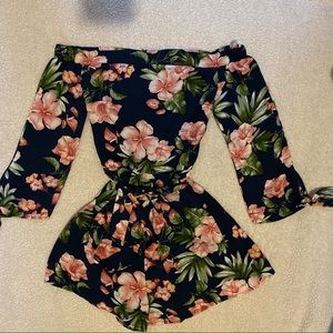 Papaya Floral romper with back zipper size Small